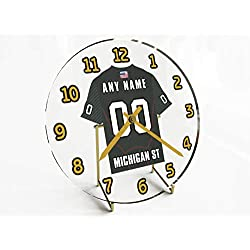 FanPlastic Big Ten College Football - Personalized Desktop Clocks - Size 7 X 7 X 2 - Any Name, Any Number, Any Team !!! (Michigan State)