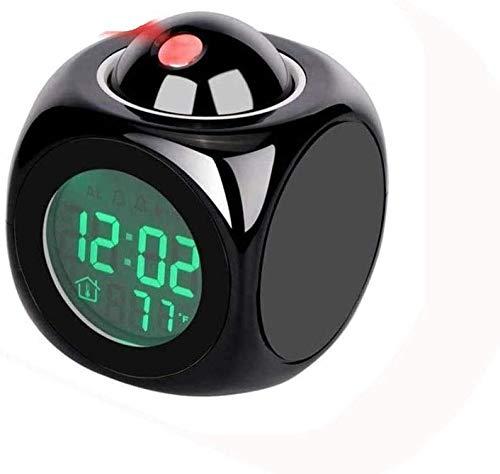 J & J Luz Nocturna Proyección Digital Reloj de Alarma con proyector de Voz Clima Termómetro Termómetro LED LED Despierta para el Dormitorio Sala de Estar Viajes