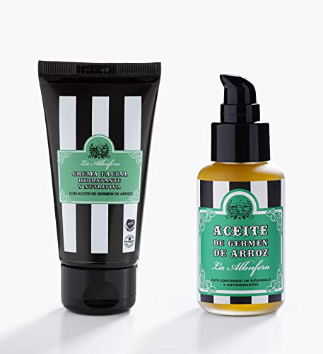 La Albufera - aceite de germen de arroz + crema facial - Aceite puro, naturales, veganos, prensados en frió, hidratantes para la piel sin OGM con aceite de germen de arroz