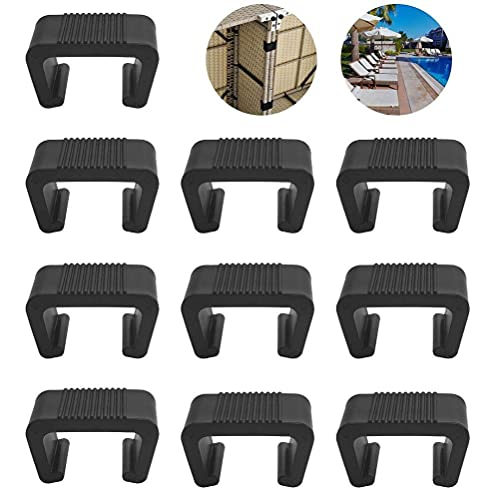 FIGFYOU 10 Pcs Furniture Sofa Clips, Outdoor Patio Wicker Plastic Rattan Sofa Clips Wicker Furniture Clips Chair Sofa Fasteners Clips for Restaurant Rattan Chairs, Garden Sofa, Rattan Furniture