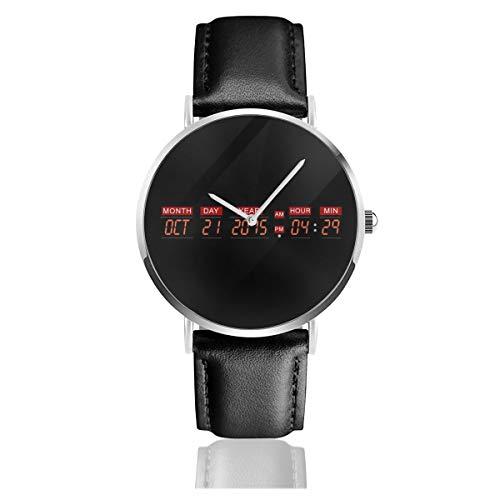 Unisex Business Casual Delorean Time Machine Back to The Future Uhren Quarz Leder Uhr mit schwarzem Lederband für Männer Frauen Junge Kollektion Geschenk