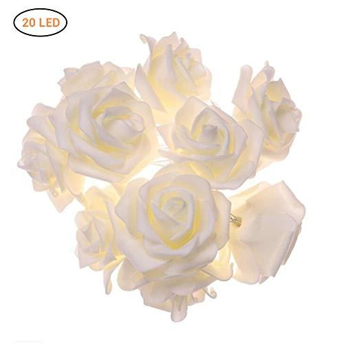 Rosen Lichterkette, 20 LED warm weiß Batterie transparentes Kabel Lichterkette mit Blumen Kunstblumen Valentinstag Weihnachtsdeko Rosenblütenkette Licht, 3M