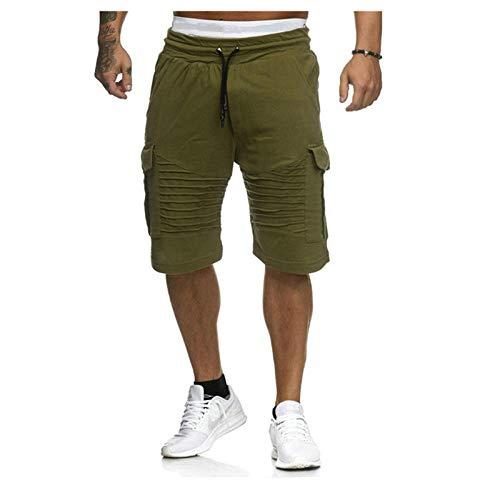 Herren Cargo-Shorts Sommer Casual Tasche Shorts Jogger Mode Männer Hosen Jogginghose Kurze Hosen -Green_M