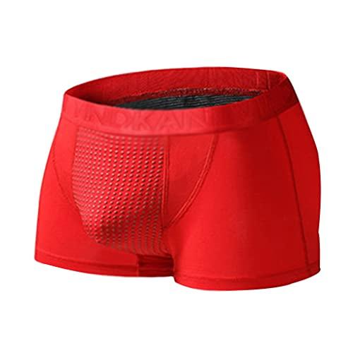 3 Piezas Ropa Interior Masculina Imanes Ropa Interior Cuidado de La Salud de La Terapia Magnética Sexy Forma de U Respirable Comodidad Super Suave (Color : Red, Size : 4XL)