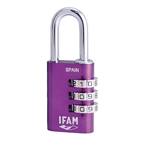 IFAM Col Combi20 (000612P)  – Candado de combinación, 20mm,  color violeta, 3 rodillos (1.000 combinaciones), cuerpo aluminio, arco diámetro 3mm, candado para maleta, viaje, gimnasio, taquilla, colegi