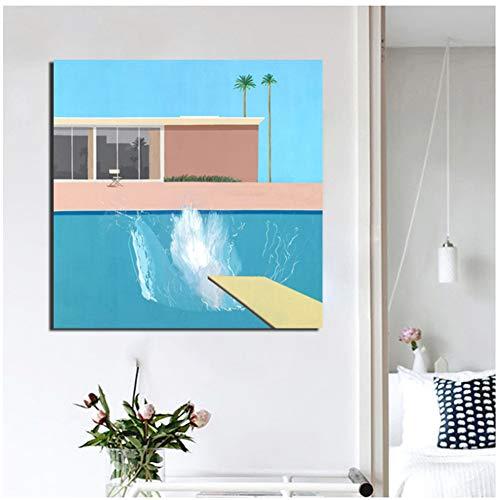 sjkkad David Hockney Tapete Leinwand Malerei Drucken Wohnzimmer Dekoration Kunstwerk Moderne Wandkunst Malerei Poster Bilder -50x50 cm Kein Rahmen