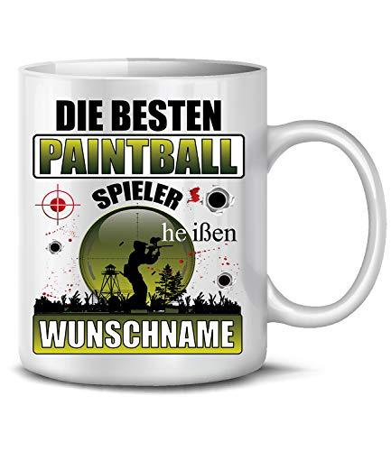 Die beesten Paintball Spieler heißen Wunschname 6493 Gotcha Sport Fun Tasse Becher Kaffeetasse Kaffeebecher Weiss
