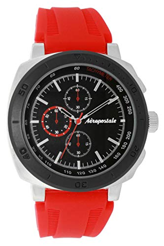 Aéropostale Men's Analog-Quartz Watch with Red Silicone Strap