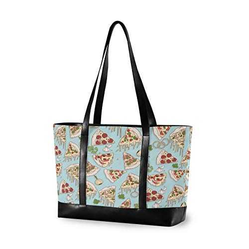 Cartoon Cute Pizza Canvas Laptop Tote Bag for Women, Multifunctional Work Travel Shopping Duffel Carrying Shoulder Handbag Compatible for 14 inch to 15.6 inch Laptop Bag