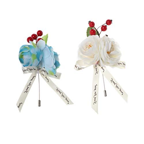 Amosfun 2 stks Bruiloft Boutonniere Bloemen Rode Bessen Corsage Broches Corsage Boog Pin voor Pak Kunstmatige Bloem voor Bruid Groom Banket Verjaardag Rood