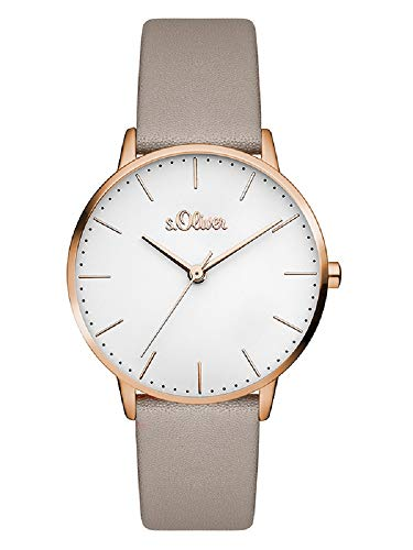 s.Oliver Damen Analog Quarz Armbanduhr mit Leder Armband SO-3441-LQ