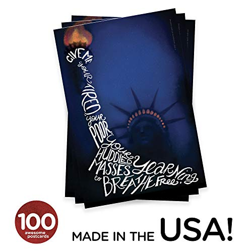 Lady Liberty Postcards. Set of cards with the Statue of Liberty and a poem, perfect for Writing to Your Representatives or Get Out the Vote Campaigns like Postcards to Voters (100)