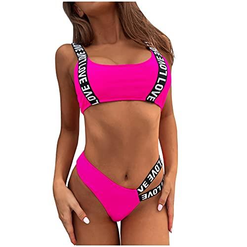 Bikinis Mujer Push up con Relleno Sexy Tiro Alto Letra Impresión Conjuntos de Traje de baño de Dos Piezas Dividido bañadores Mujer Natación Bikinis brasileños Tanga Prenda para la Playa Mujer 2021