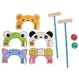 NUOBESTY 1 Unidades de animales de madera Croquet Set Juguetes de Golf Juegos de Béisbol Deportes para Niños Juego Educativo Temprano Juguetes Fiesta Favores