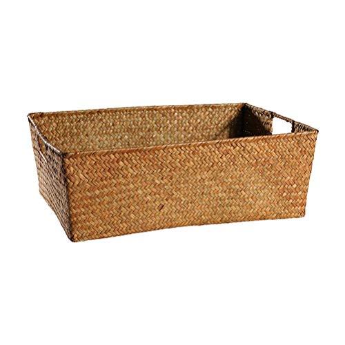 Rectangulares de tejido a mano la caja de almacenaje de la rota la cesta del almacenaje principal Obra juguete caja de almacenamiento de acabado cuadro de Familia Ropa Misceláneas Snack-Caja de almace