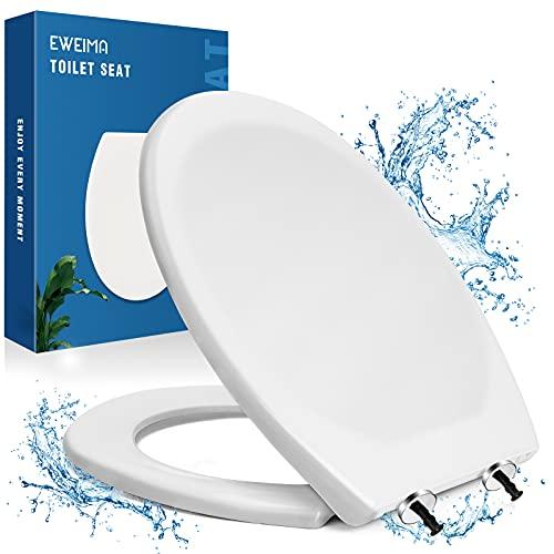 Tavoletta WC, EWEIMA Copriwater Universali O Forma Bianco, Antibatterico Sedile WC a Materiale UF con Chiusura Rallentata & Cerniera In Regolabile, Rimozione One-touch per Rapida Pulizia