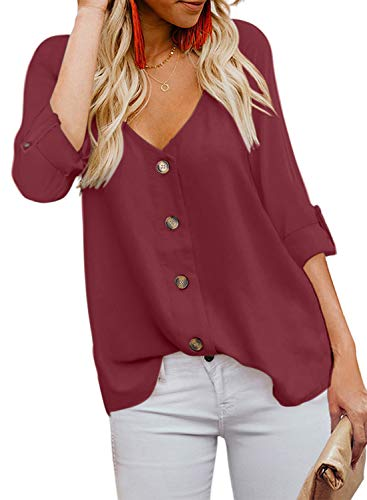 BLENCOT Womens Juniors Fashion V Neck Button Up Shirts Long Sleeve Blouses Casual Loose Tops Red L