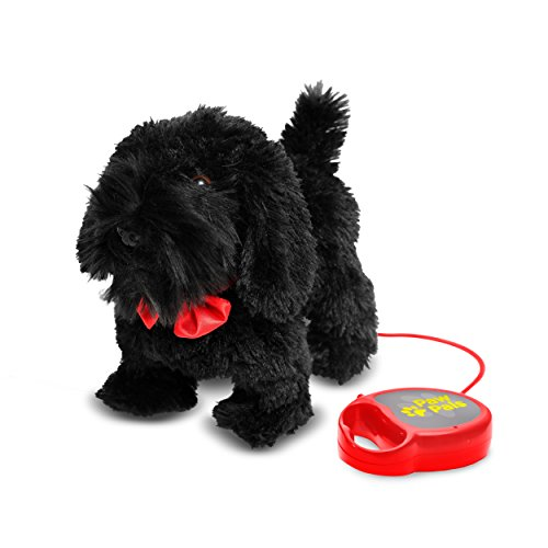 Meva Kids Walking and Barking Puppy Dog Toy Pet with Remote Control Leash (Black)