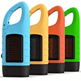 Rechargeable Flashlights (3-Pack) with Solar Power & Hand Crank + BONUS Glow-in-the-Dark Emergency Flashlight Included - High Lumen LED's, Tactical Grip, Mini Keychain Carabiner for EDC & Outdoor Camp