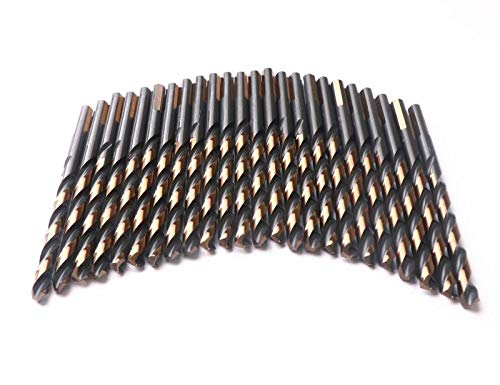 DRILLFORCE 24pcs, 17/64 Inch Drill Bits, Black and Gold Finish High Speel Steel