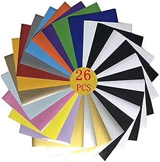"MetalHeat Transfer Vinyl HTV Bundle 10""x12"" - 26 Pack 11 Assorted Colors HTV Vinyl with HTV Accessories Tweezers for Cric..."