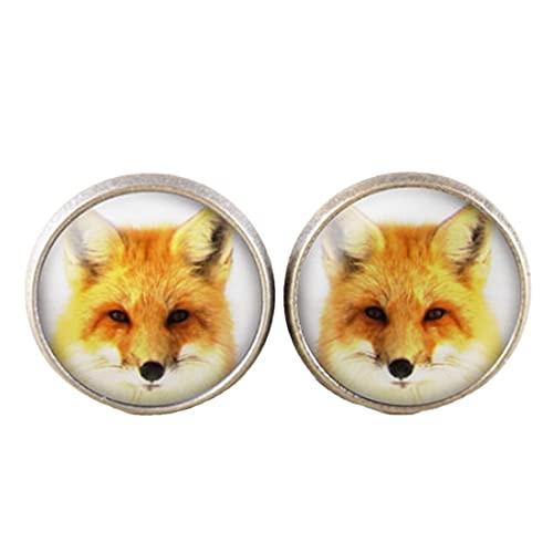 Fox Earrings - Pendientes de poste de bronce, fotografía de zorro rojo