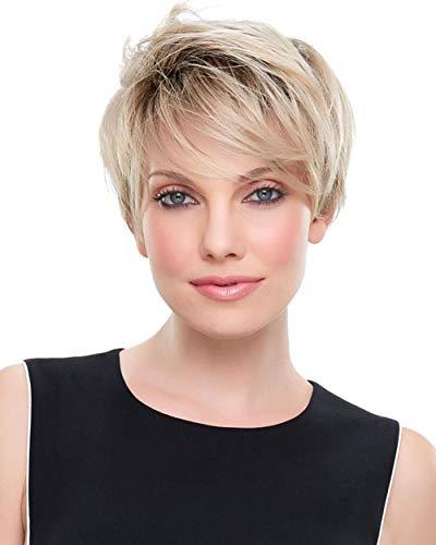 Perücke Damen Blond Kurzhaar Perücken Braun und Perückennetz Oma Großmutter Frauen Super Natürlich Volle Synthetik Wig 039