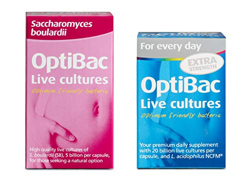 OptiBac Saccharomyces Boulardii, Pack of 40 Capsules & for Every Day Extra Strength, Pack of 30 Capsules
