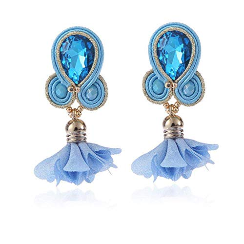 ZHENAO Vintage Quirky Earrings Long Earring Jewelry Women Crystal Handmade Big Drop Earring Ethnic Style Clothing Accessories White Exquisite/Blue