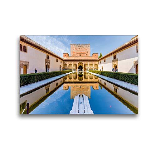 CALVENDO Premium Lienzo 45 x 30 cm Horizontal Comares Palast con Myrtenhof en el Alhambra, Granada, España Imagen HD sobre Bastidor, Listo en Fieltro, impresión en Lienzo de Thomas Konietzny