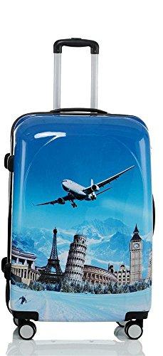 Reise Koffer Trolley mit Polycarbonat ABS Hartschale und Motiv BB (4: 115 Liter - Gr. XL, Flugreise)