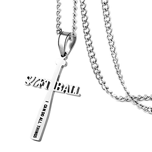 HZMAN Softball Bat Cross Pendant, I CAN DO All Things Strength Bible Verse Stainless Steel Necklace (Silver)