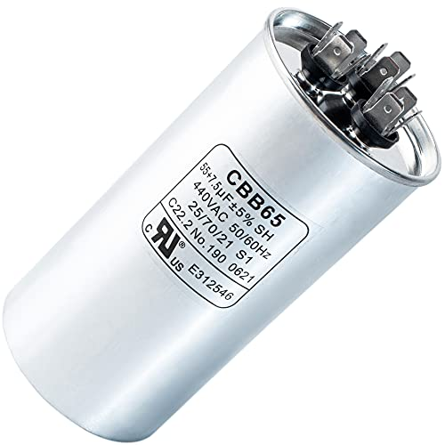 55+7.5 uf MFD ±5% 370 or 440 Volt AC CBB65B Dual Run Round Capacitor by Blue Stars - Exact Fit for Condenser Straight Cool or Heat Pump Air Conditioner - Replaces C35575R, TT-CAP-55/7.5/440