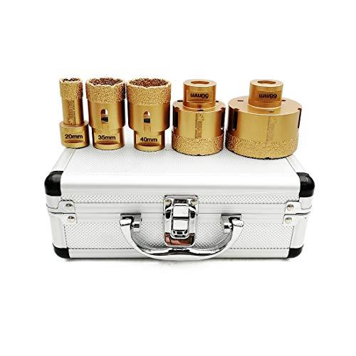 SHDIATOOL Diamant Bohrkrone Set 5-teilig mit Box 20/35/40/50/68mm für Porzellan Fliese Granit Marmor Trockenbohren