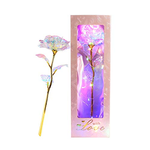 Icreer Colorful Galaxy Rose 24K Gold Rose Gifts for Women on Christmas,Artificial Flowers 24K Golden Foil Roses with LED Decor,Best Gifts for Xmas Anniversary Mothers Day Birthday Valentine's Day