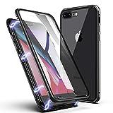 Funda para iPhone 8 Plus/7 Plus, ZHIKE Estuche de Adsorción Magnético Frente y Parte Posterior de Vidrio Templado Cobertura de Pantalla Completa Diseño para iPhone 8 Plus/7 Plus (Negro Claro)