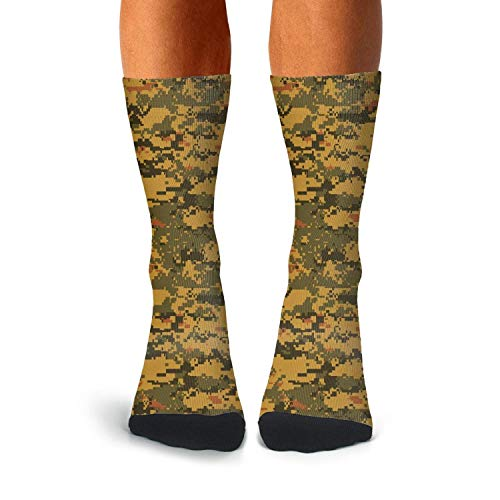 Man Camo Digital Socks Extra Thick Winter Cable Knitting Soccer Socks