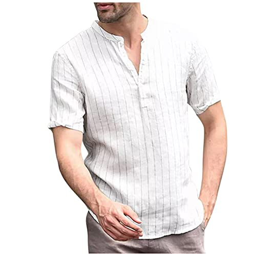 Dasongff Camisa de hombre de manga corta, para el tiempo libre, cuello alto, de verano, monocolor, cuello en V, camiseta Henley, camisa de verano, cómoda y de corte regular