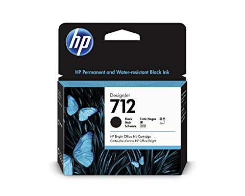 HP 712 3ED71A Negro, Cartucho de Tinta Original HP, de 80ml, de alta capacidad, para Impresoras Plotter de Gran Formato HP DesignJet Series T650, T630, T250, T230, Studio y Cabezal de Impresión HP 713