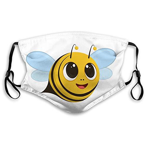 Staub Mundschutz Anti Staubschutz für Kinder Frauen und Männer eine süße Biene fliegende und lächelnde Mundabdeckungen