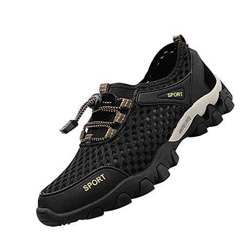 DAIFINEY Herren Schnellverschluss Turnschuhe Verschleißfest Straßenlaufschuhe Sportschuhe Laufschuhe Joggingschuhe Walkingschuhe Fitness Schuhe(1-Schwarz/Black,39) 1129