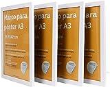 Nacnic Set de 4 Marcos Blancos tamaño A3 (29.7x42cm). Marco de Color Blanco
