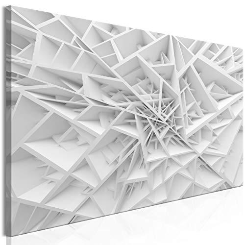 decomonkey Bilder Abstrakt 120x40 cm 1 Teilig Leinwandbilder Bild auf Leinwand Vlies Wandbild Kunstdruck Wanddeko Wand Wohnzimmer Wanddekoration Deko Modern Weiß Geometrisch
