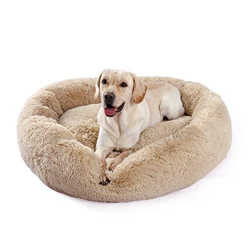 Umi Amazon Brand Cama de Perro de Felpa Suave y cálida Donut Cama para Perro Cama para Dormir mullida sofá para Mascotas de Varios tamaños para Perros pequeños medianos Lavable a máquina Beige XL