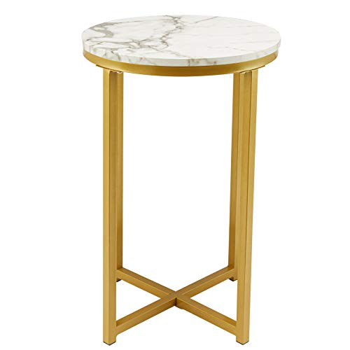 CO-Z 40cm Modern Round End Table with Faux Marble Top | Mid-Century Bedside Table | Accent Side Telephone Table Plant Stand Night Stand for Living Rooms Bedrooms Entryways More, White Marble and Gold
