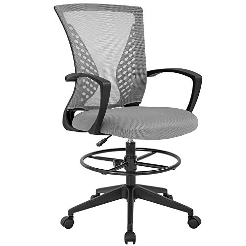 Drafting Chair Tall Office Chair Adjustable Height with Arms Foot Rest Back Support Rolling Swivel Desk Chair Mesh Drafting Stool for Standing Desk Adults Men(Grey)