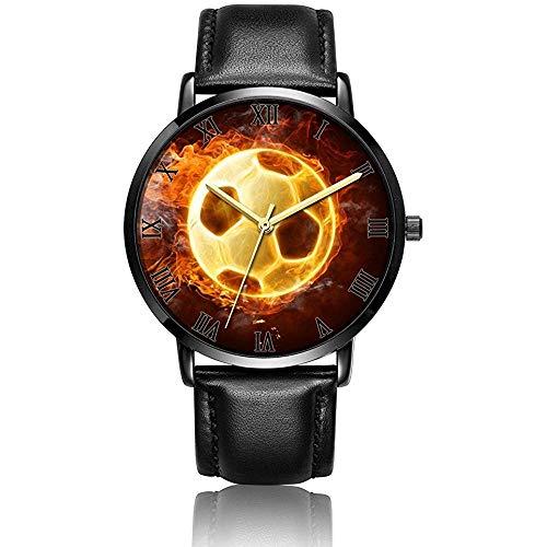 Balón de fútbol Personalizado en Reloj de Pulsera Reloj de Cuarzo analógico Tira de Cuero Negro/Placa de marcación Negra
