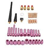 Boquilla de gas, boquilla de soplete de soldadura, 46 unids/set accesorios de consumibles de soplete de soldadura TIG de la serie WP-9/20/25