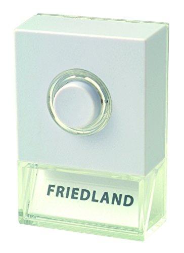 Friedland, deurbel met verlichte belruk, D723W, met ruimte voor naam, wit