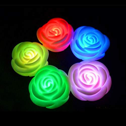 Uonlytech LED Kerzenlicht, Farbwechsel LED Teelichter, Rose Kerzenlicht für Hochzeitsfeier Valentinstag (8 Stück, weiß)